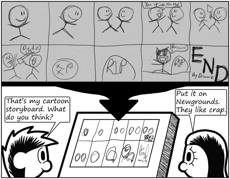 Negligence #483: Drannik's Cartoon Storyboard